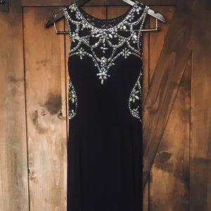 Betsy & Adam Women's Navy Blue Prom Dress